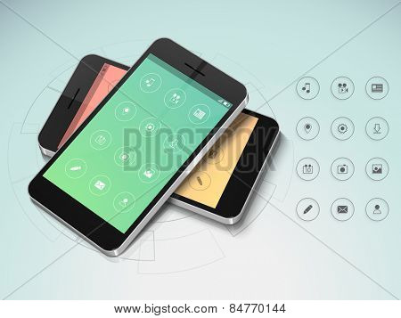 Creative smartphone screen presentation with features icons in two color choice on stylish background.