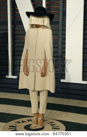 LOS ANGELES - FEB 22:  Sia at the Vanity Fair Oscar Party 2015 at the Wallis Annenberg Center for the Performing Arts on February 22, 2015 in Beverly Hills, CA