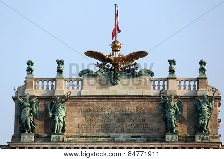 VIENNA, AUSTRIA - OCTOBER 10:  Austrian National Library and the Hofburg Congress Center on Heldenplatz in Hofburg. Vienna, Austria on October 10, 2014.