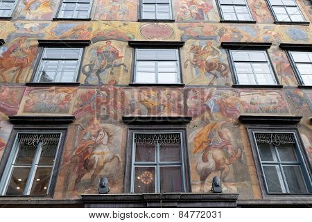 GRAZ, AUSTRIA - JANUARY 10, 2015: Baroque facade painting at the Grazer Herrengasse in Graz in Austria on January 10, 2015.