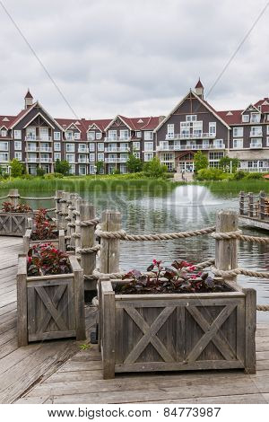 COLLINGWOOD, ON, CANADA - JUNE 18: View of Mill pond with fountain in summer at Blue Mountain Village, 2014