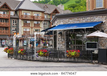 COLLINGWOOD, ON, CANADA - JUNE 18: Summer view of Copper Blues restaurant in Blue Mountain Village, 2014