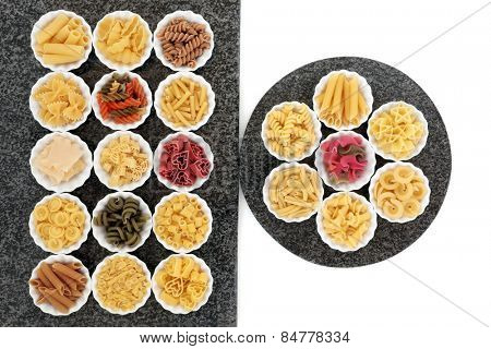 Pasta dried food selection in porcelain crinkle bowls on marble rectangle and round slabs over white background. poster