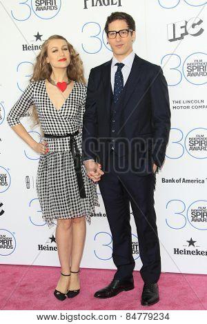 SANTA MONICA - FEB 21: Joanna Newsom, Andy Samberg at the 2015 Film Independent Spirit Awards on February 21, 2015 in Santa Monica, California