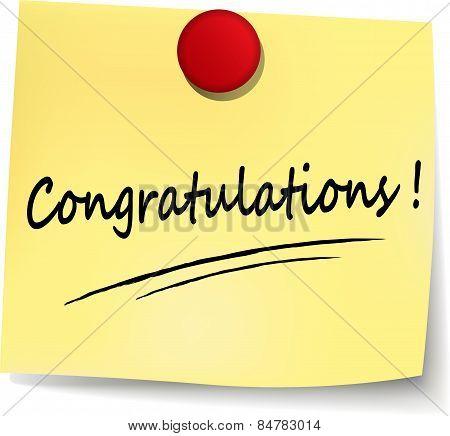 Congratulations Yellow Note