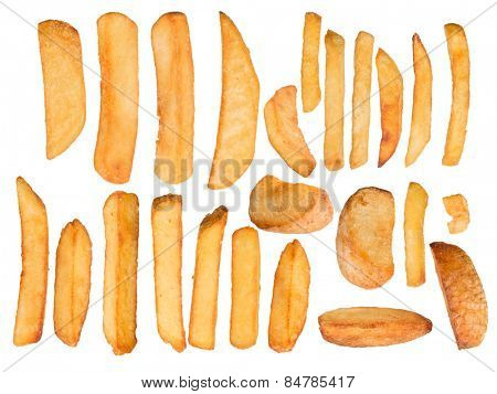 French fries in freeze motion isolated on white