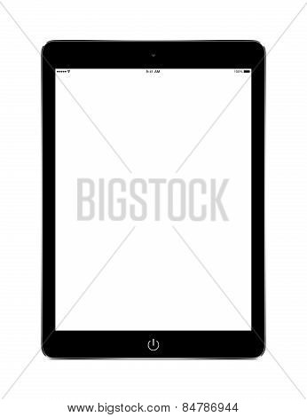 Front View Of Black Tablet Computer With Blank Screen Mockup