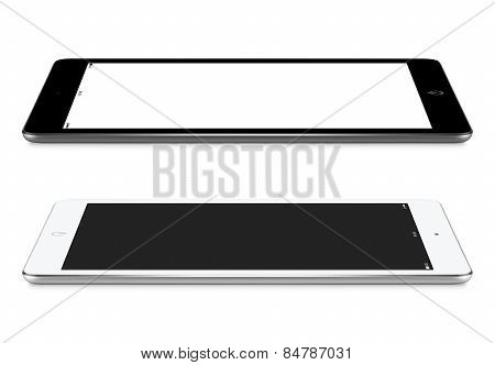 Left And Right Side View Of Black And White Tablet Pc With Blank Screen Mockup