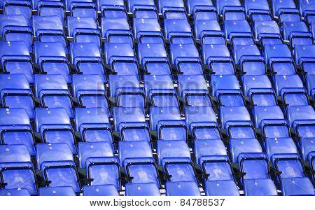 Blue Spectators seats at a stadium
