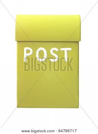 Yellow mailbox isolated on a white background