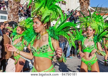 Sesimbra, Portugal. February 17, 2015: Brazilian Samba dancers called Passistas in the Rio de Janeiro style Carnaval Parade. The Passista is one of the sexiest performers of this event
