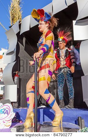Sesimbra, Portugal. February 17, 2015: Samba dancer performing on top of a Float in the Rio de Janeiro Brazilian style Carnaval Parade.