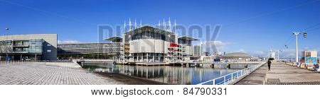 Lisbon, Portugal - February 01, 2015: Lisbon Oceanarium, the second largest oceanarium in the world and the biggest in Europe with a view over the Parque das Nacoes, Lisbon, Portugal