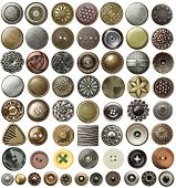 Various sewing buttons and jeans rivets. poster