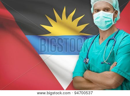 Surgeon with flag on background - Antigua and Barbuda poster