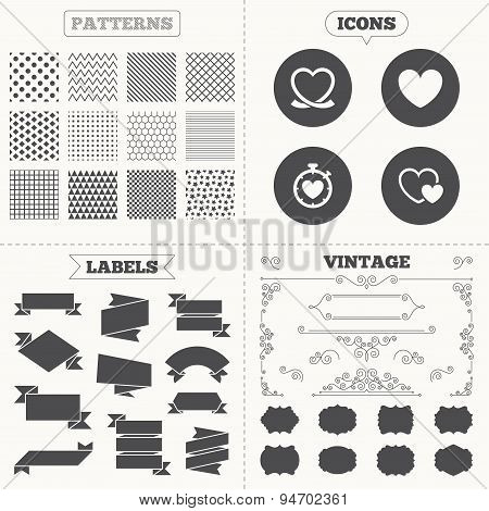 Seamless patterns. Sale tags labels. Heart ribbon icon. Timer stopwatch symbol. Love and Heartbeat palpitation signs. Vintage decoration. Vector poster