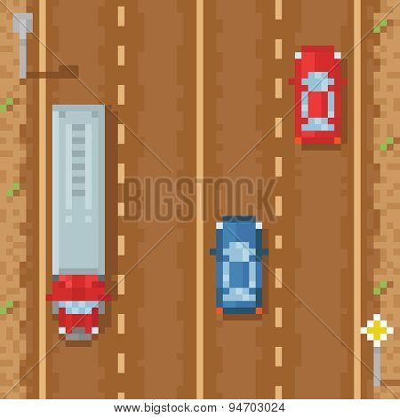 Road with red blue cars and cargo truck - retro pixel art