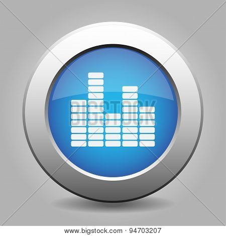 Blue Metal Button With Equalizer