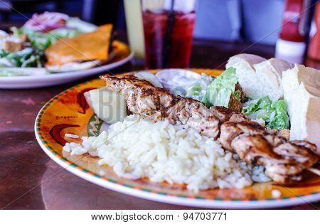 Chicken Souvlaki With Rice