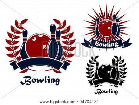 Bowling retro emblems with balls and ninepins