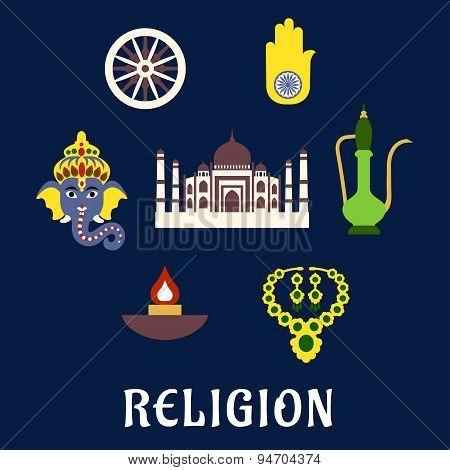 Indian religion and culture flat symbols with Ganesha God, national flag element ashoka Chakra wheel, hamsa hand amulet, brass teapot, ethnic jewelry, Diwali lamp and Taj Mahal poster