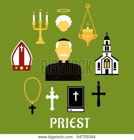 Priest with other religious icons, flat style