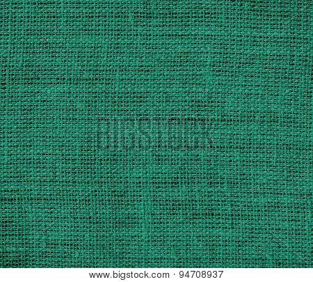 Deep green-cyan turquoise burlap texture background