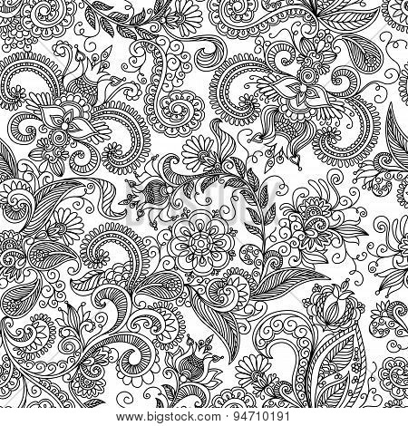 vector seamless black and red floral pattern