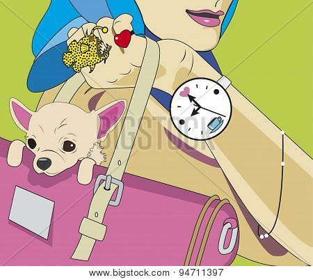 Fashionable young woman with a pretty small dog