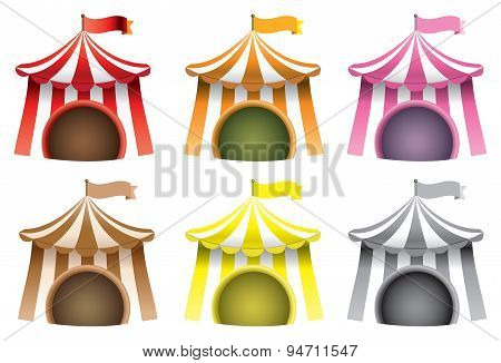 Circus Tent Vector Icon Set