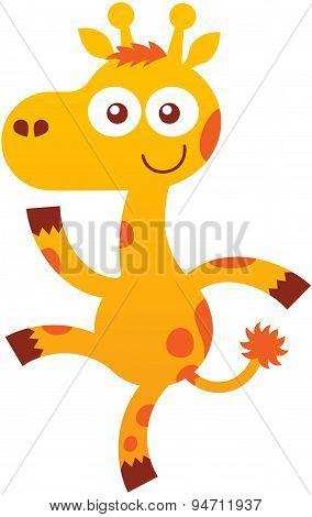 Cute baby giraffe dancing enthusiastically