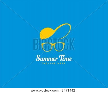 Abstract vector logo elements. Vocation, summer time, glasses with cap. Stock illustration for desig
