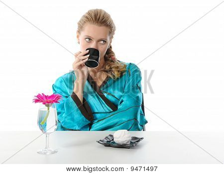 Pretty Girl Drinking Morning Coffee
