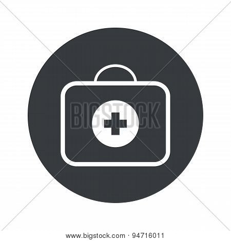 Image of first-aid kit in black circle, isolated on white poster