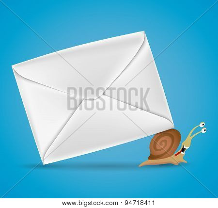 Snail carries envelope