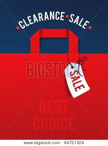 Clearance Sale Poster with percent discount. Illustration of paper shopping bags and lights.