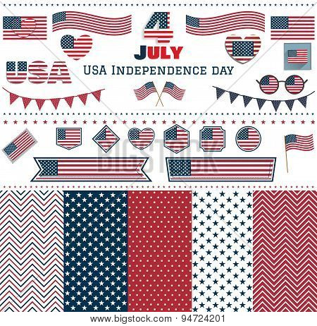 Set Of American Flags Hearts Patterns