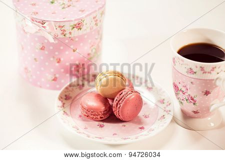 Macaroons On Floral Plate
