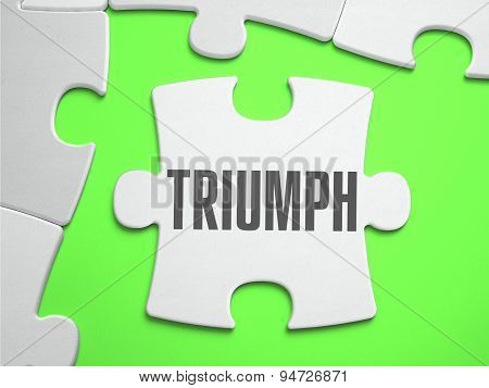 Triumph - Jigsaw Puzzle with Missing Pieces. Bright Green Background. Close-up. 3d Illustration. poster