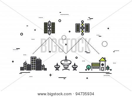 Satellite Network Line Style Illustration
