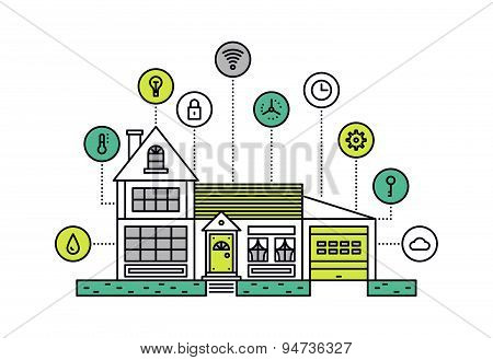 Smart House Line Style Illustration