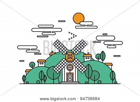 Village Landscape Line Style Illustration