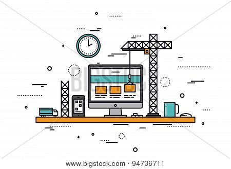 Website Construction Line Style Illustration