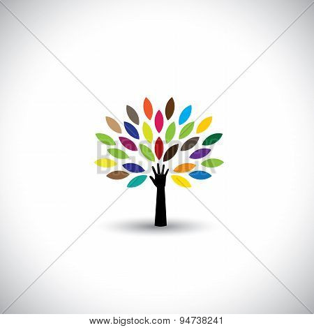 human hand & tree icon with colorful leaves