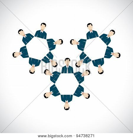 Concept Of Office Employees As Cogwheels Or Gear Wheels - Flat Vector Design