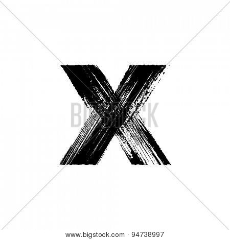 Vector hand paint letter x. Hand drawn letter with dry brush. Lower case