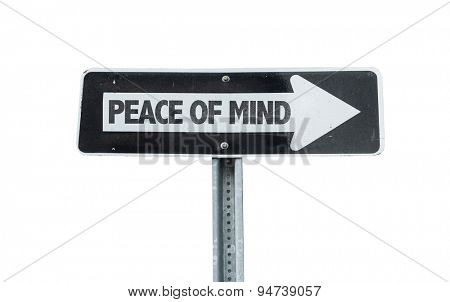 Peace of Mind direction sign isolated on white