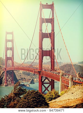 Golden Gate Bridge with Instagram retro style filter