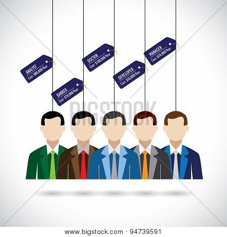 Flat Vector Design Of Various Professionals Like Doctor, Manager And Costs