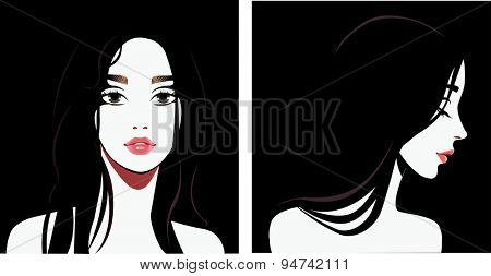 black and white portrait of face girl in straight and profile